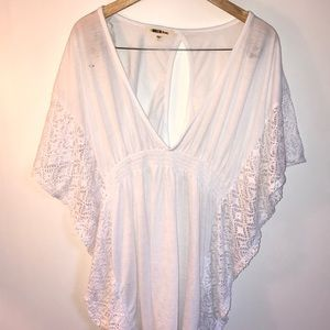 Bathing Suit Cover Up Sheer Arms White Cute 👙